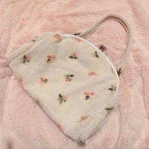 Vintage antique floral beard purse